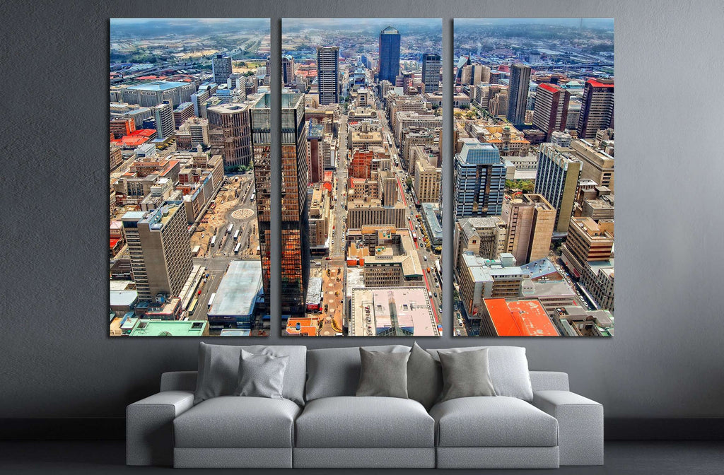 Amazing urban landscape. Awesome photo of Megalopolis. Modern lifestyle, Johannesburg №2317 Ready to Hang Canvas Print