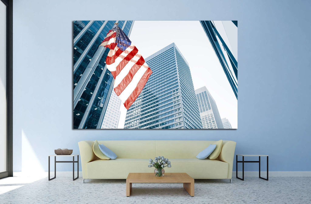 American flag on blue building №1288 - canvas print wall art by Zellart