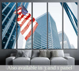 American flag on blue building №1288 Ready to Hang Canvas Print