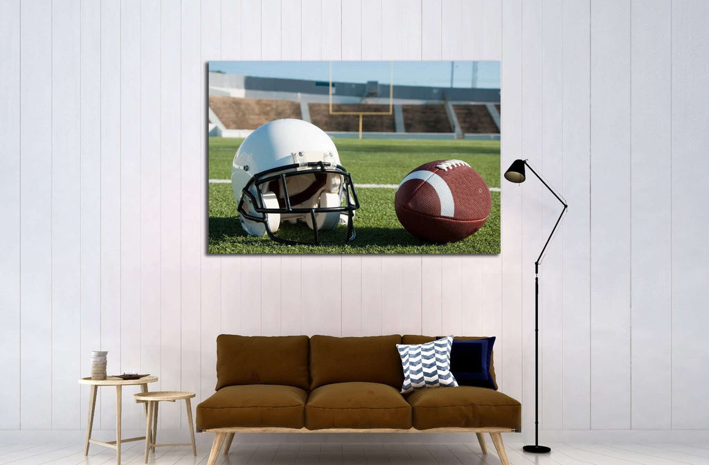 American football and helmet on field with goal post in background №2113 Ready to Hang Canvas Print