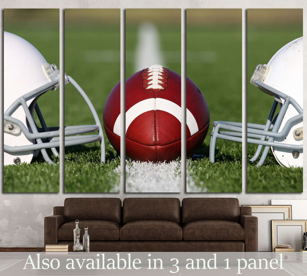 American Football and Helmets on the Field №2117 Ready to Hang Canvas Print