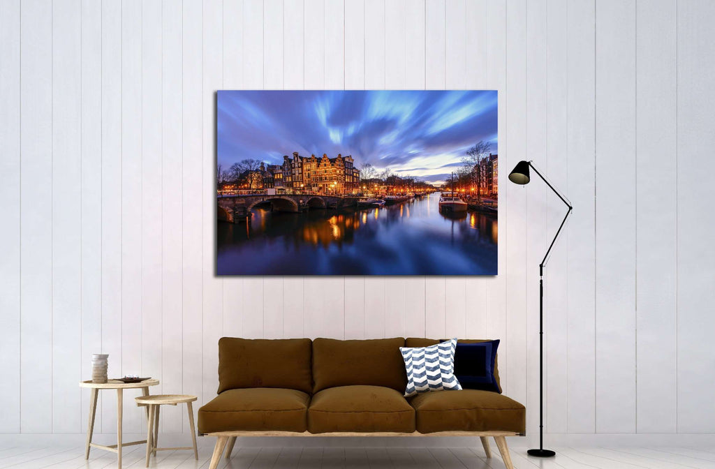 Amsterdam canal during twilight time №2201 Ready to Hang Canvas Print
