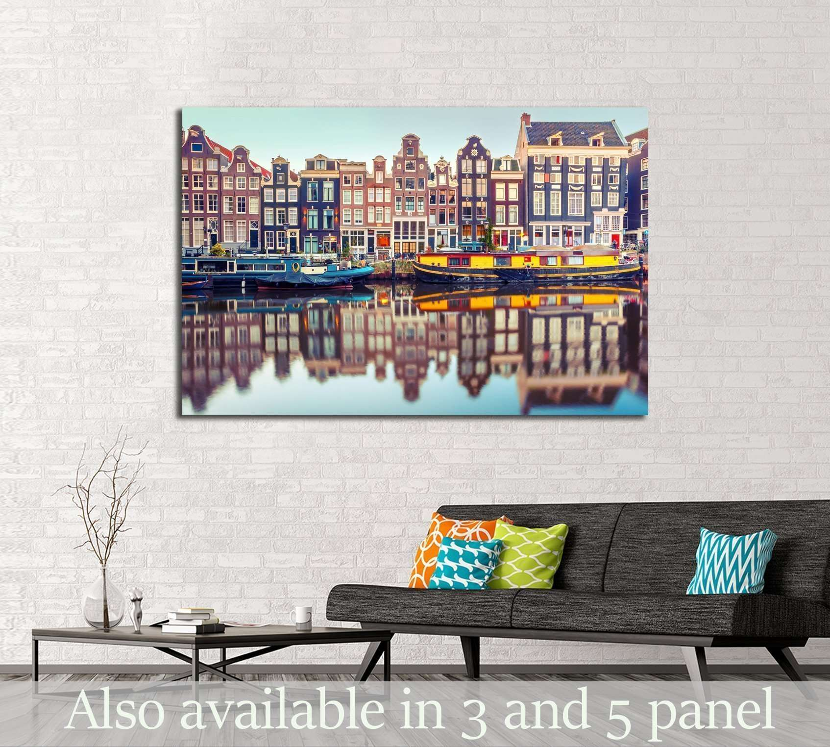 Amsterdam canal Singel.Holland, Netherlands №2409 Ready to Hang Canvas Print
