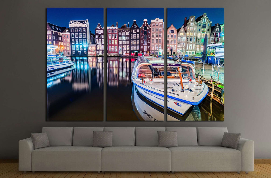 Amsterdam city view at Central Damrak with passenger boat and reflection in the water at night, Amsterdam Netherlands №2384 Ready to Hang Canvas Print