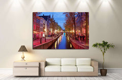Amsterdam Red Light District area in the city centre at dusk, North Holland, the Netherlands №2156 Framed Canvas Print