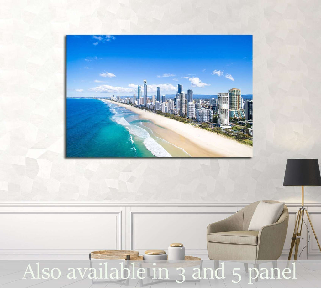 An aerial view of Surfers Paradise on the Gold Coast, Australia №2416 Framed Canvas Print