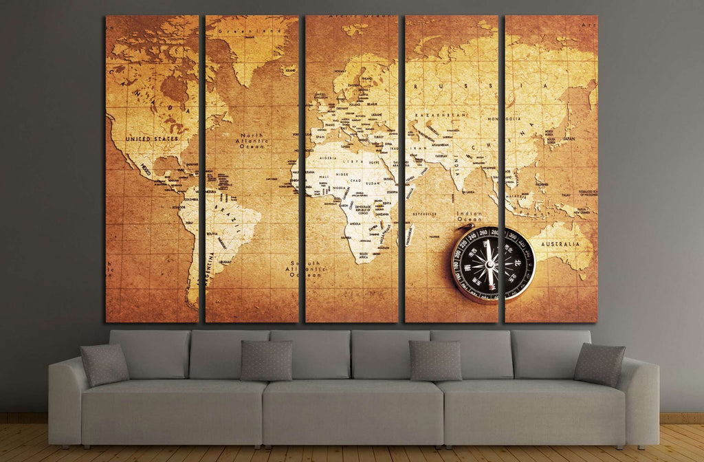 An old brass compass on a Treasure map background №2812 Ready to Hang Canvas Print