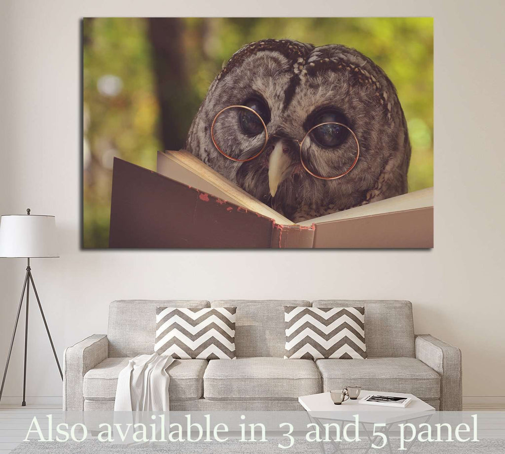 An owl animal with glasses is reading a book in the woods №1849 - canvas print wall art by Zellart