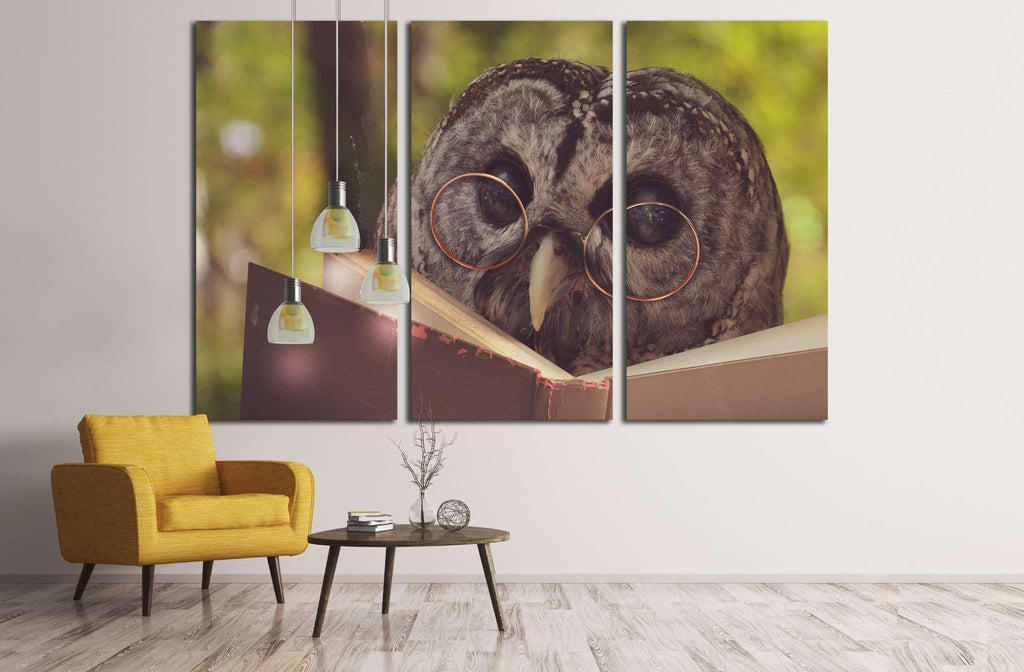 An owl animal with glasses is reading a book in the woods №1849 Ready to Hang Canvas Print
