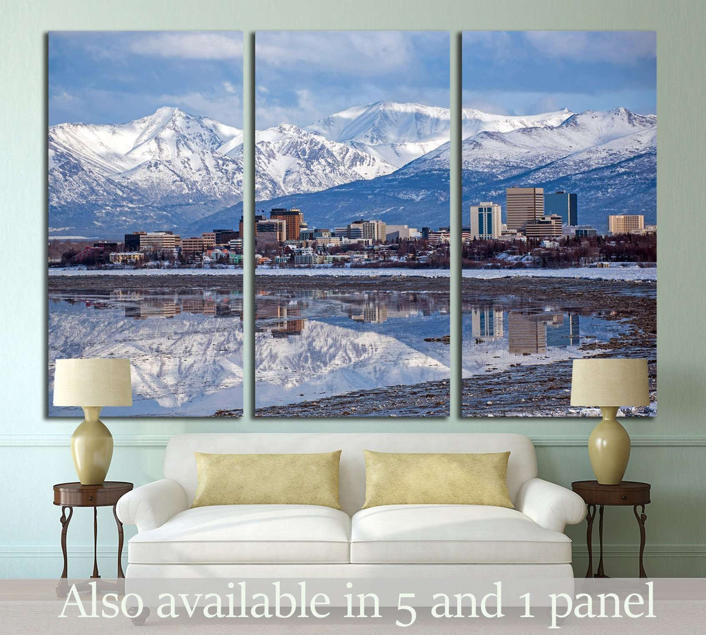 Anchorage Skyline with a winter reflection №1751 Ready to Hang Canvas Print