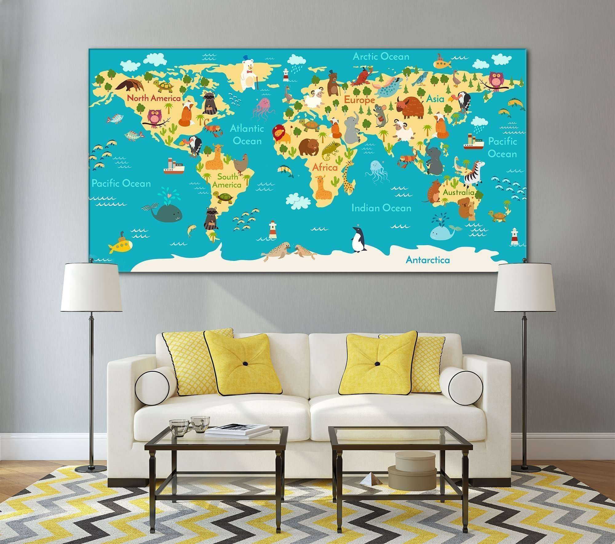 Animals world map for kids room №794 Ready to Hang Canvas Print