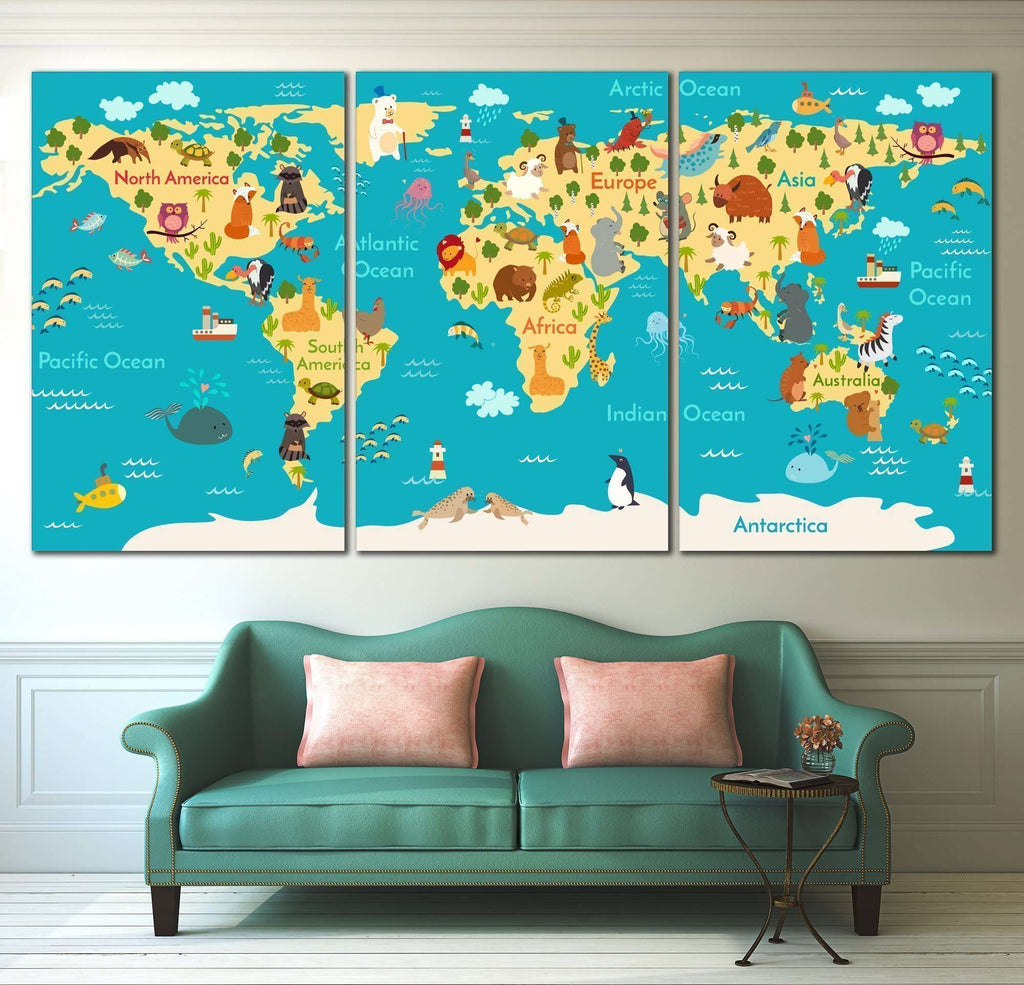 Animals world map for kids room 794 ready to hang canvas print animals world map for kids room 794 ready to hang canvas print gumiabroncs Gallery