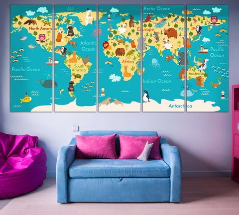Kids world map wall art at zellart canvas arts animals world map for kids room 794 ready to hang canvas print gumiabroncs Images