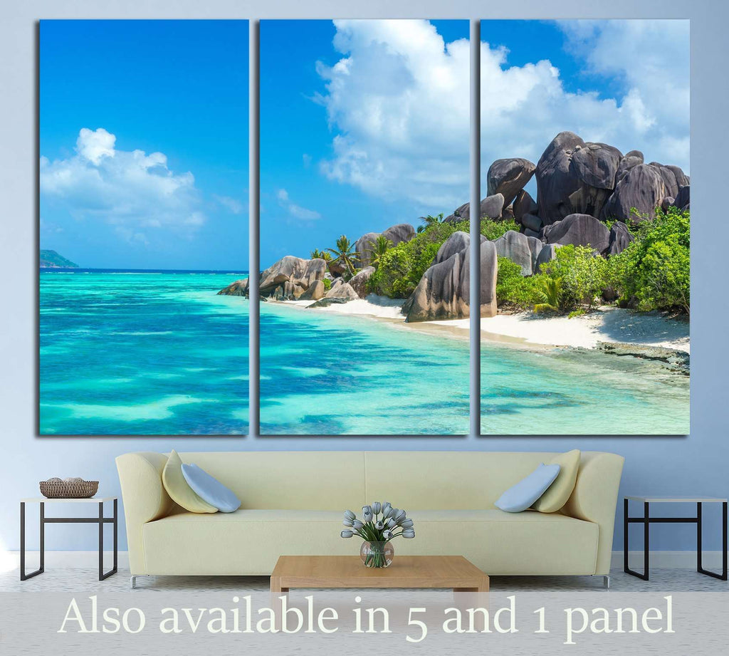 Anse Source d'Argent - granite rocks at beautiful beach on tropical island La Digue in Seychelles №3090 Ready to Hang Canvas Print
