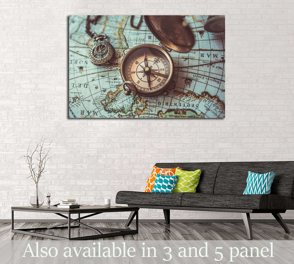 Antique bronze emblem compass, mini compass necklace pendant and binocular telescopes №2818 Ready to Hang Canvas Print
