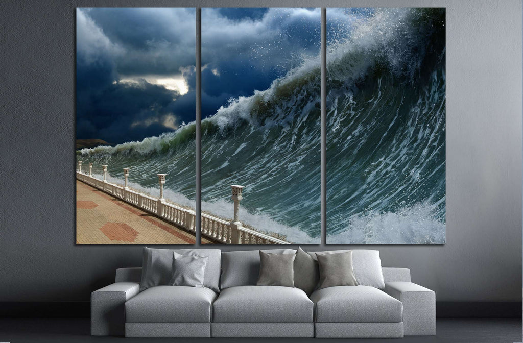 Apocalyptic dramatic background - giant tsunami waves, dark stormy sky №3126 Ready to Hang Canvas Print