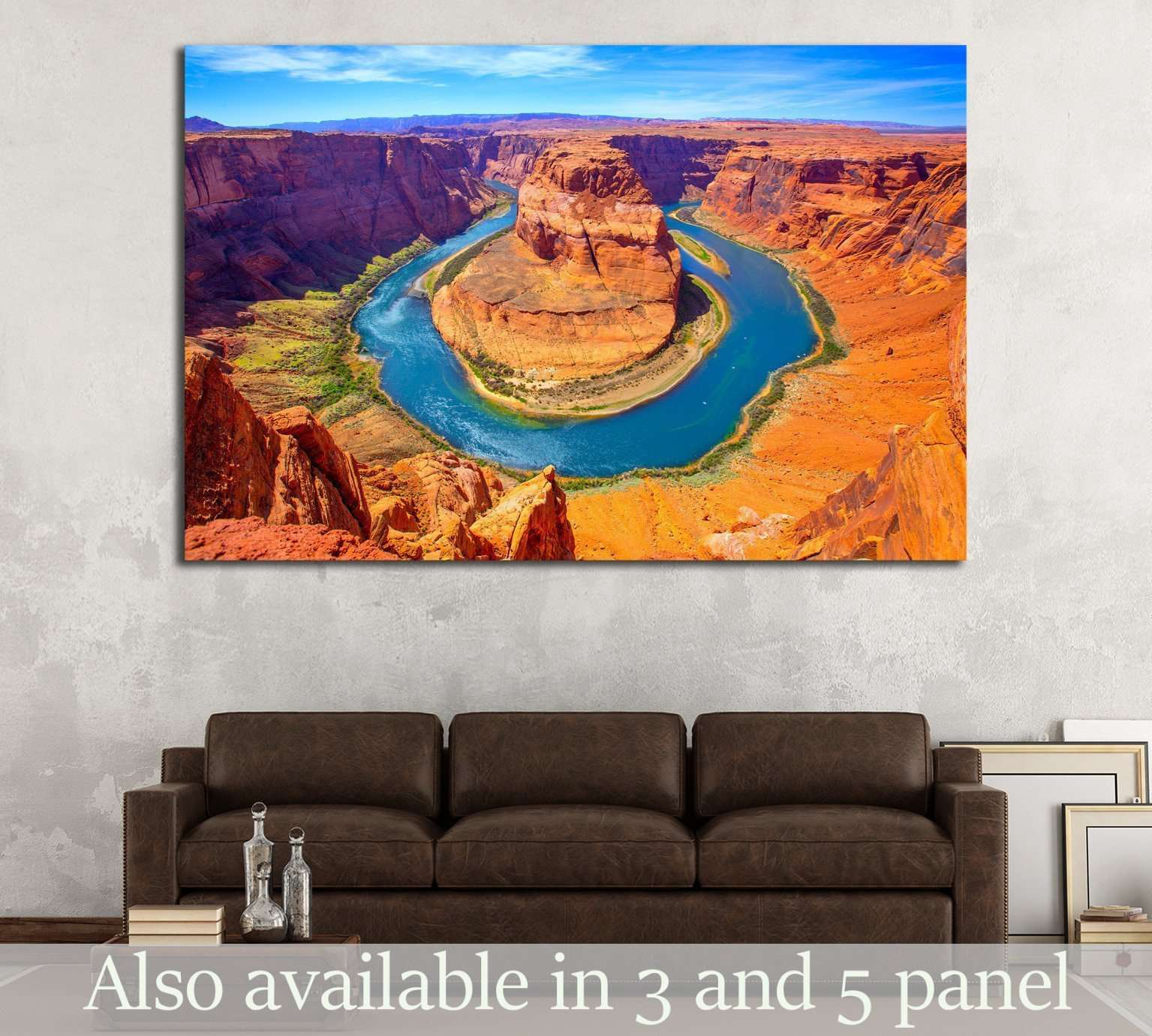 Arizona Horseshoe Bend meander of Colorado River in Glen Canyon №1979 - canvas print wall art by Zellart