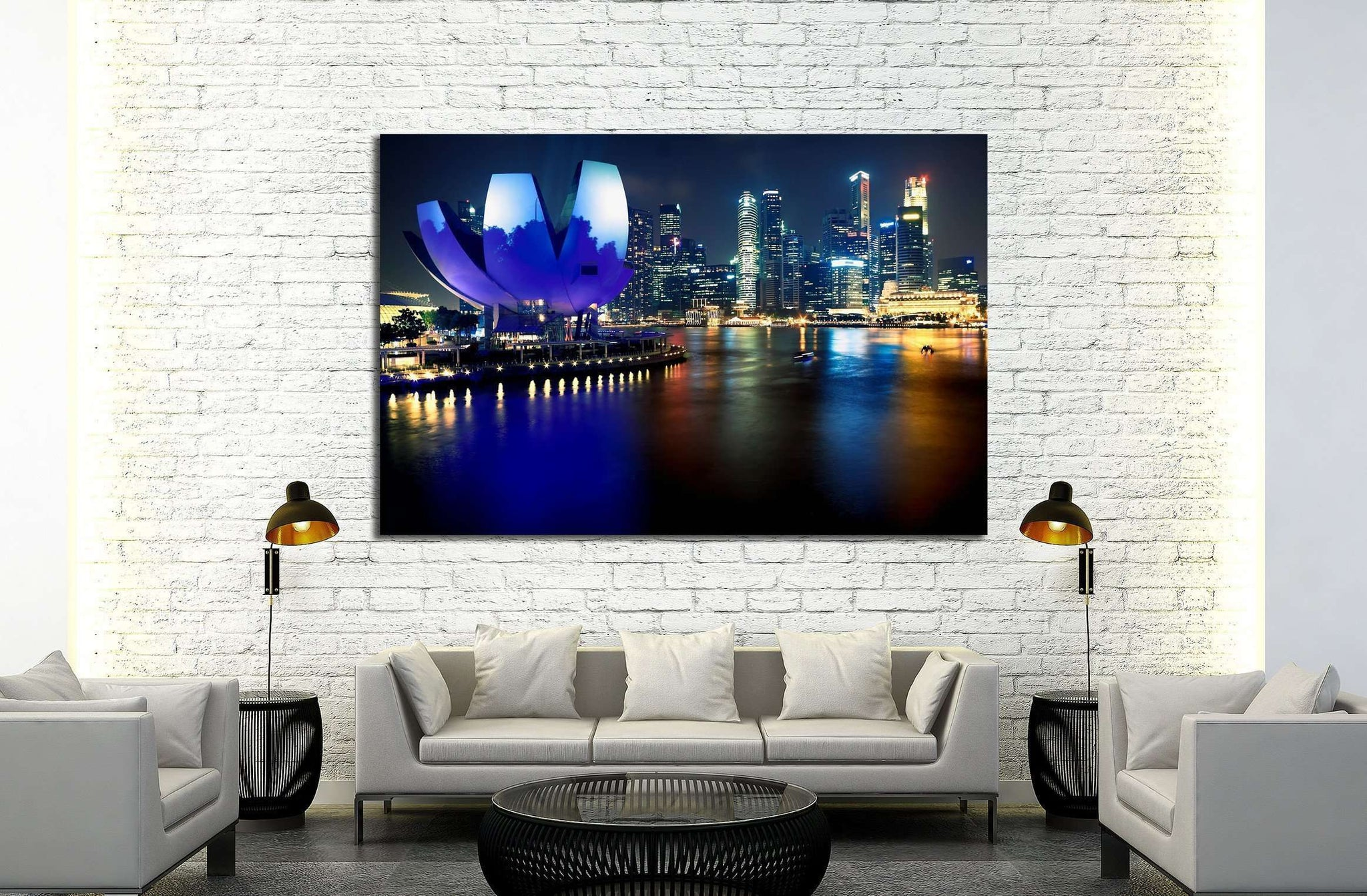 Art Science Museum in Singapore. Attractions at Marina Bay Sands №2272 Ready to Hang Canvas Print
