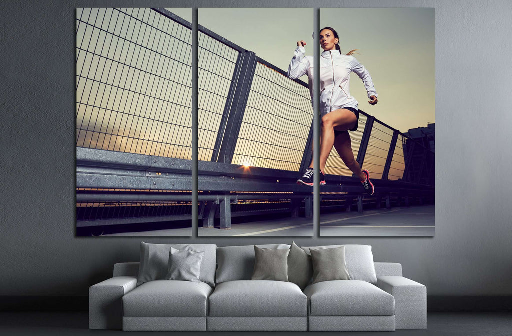 Athletic woman running during sunset on rooftop of parking, garage №3255 Ready to Hang Canvas Print
