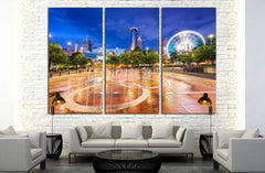 ATLANTA, GEORGIA, Centennial Olympic Park's landmark fountains №2321 Ready to Hang Canvas Print
