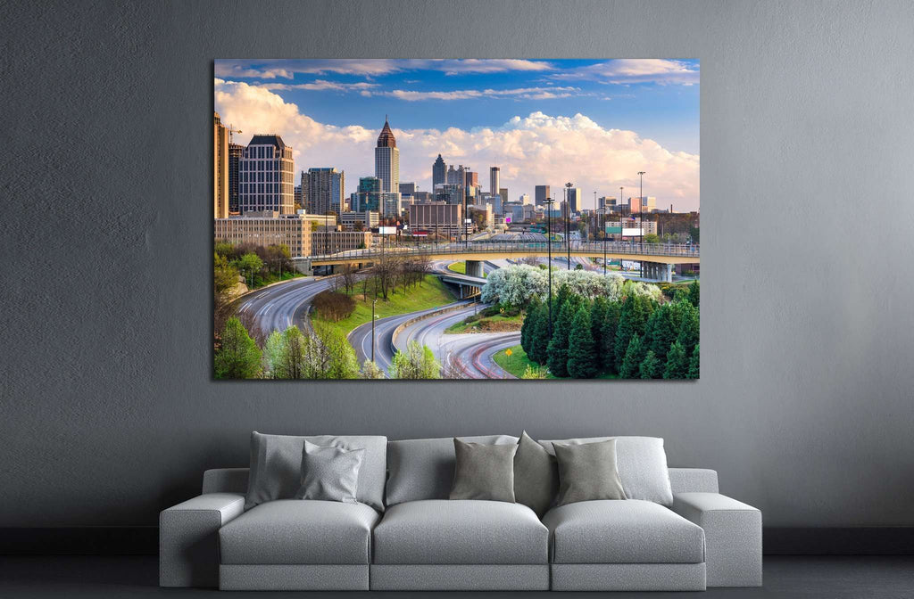 Atlanta, Georgia, USA downtown skyline №1648 Ready to Hang Canvas Print
