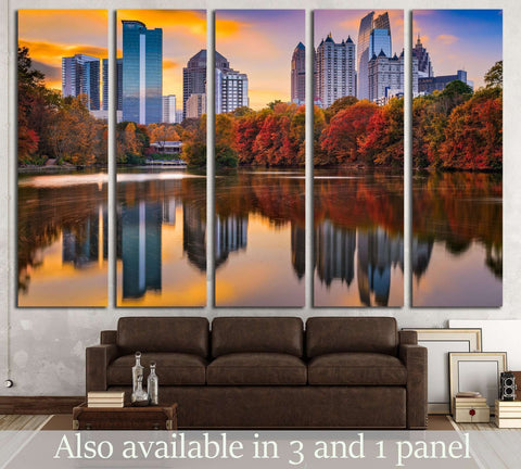 Atlanta, Georgia, USA Piedmont Park skyline in autumn №2404 Ready to Hang Canvas Print
