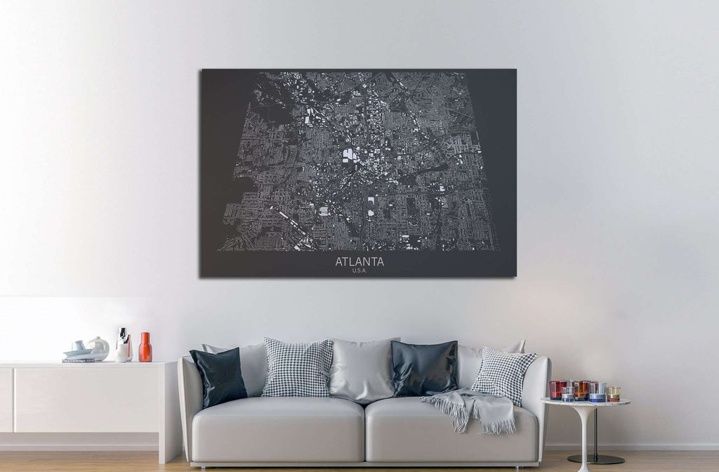 Atlanta map, satellite view, United States №1826 Framed Canvas Print