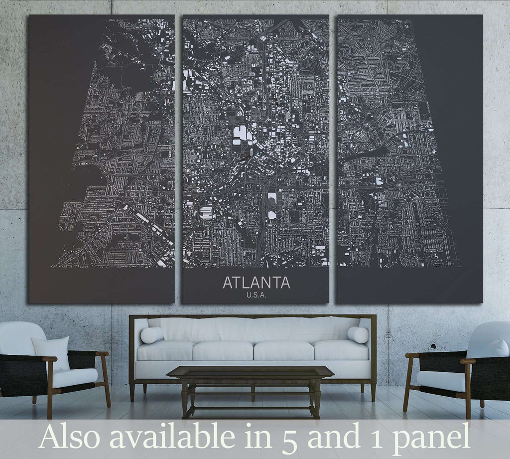 Atlanta map, satellite view, United States №1826 Ready to Hang Canvas Print