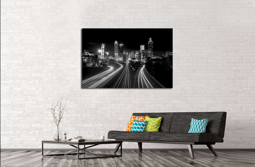 Atlanta Skyline at night, high contrast black and white with light trails №2947 Ready to Hang Canvas Print