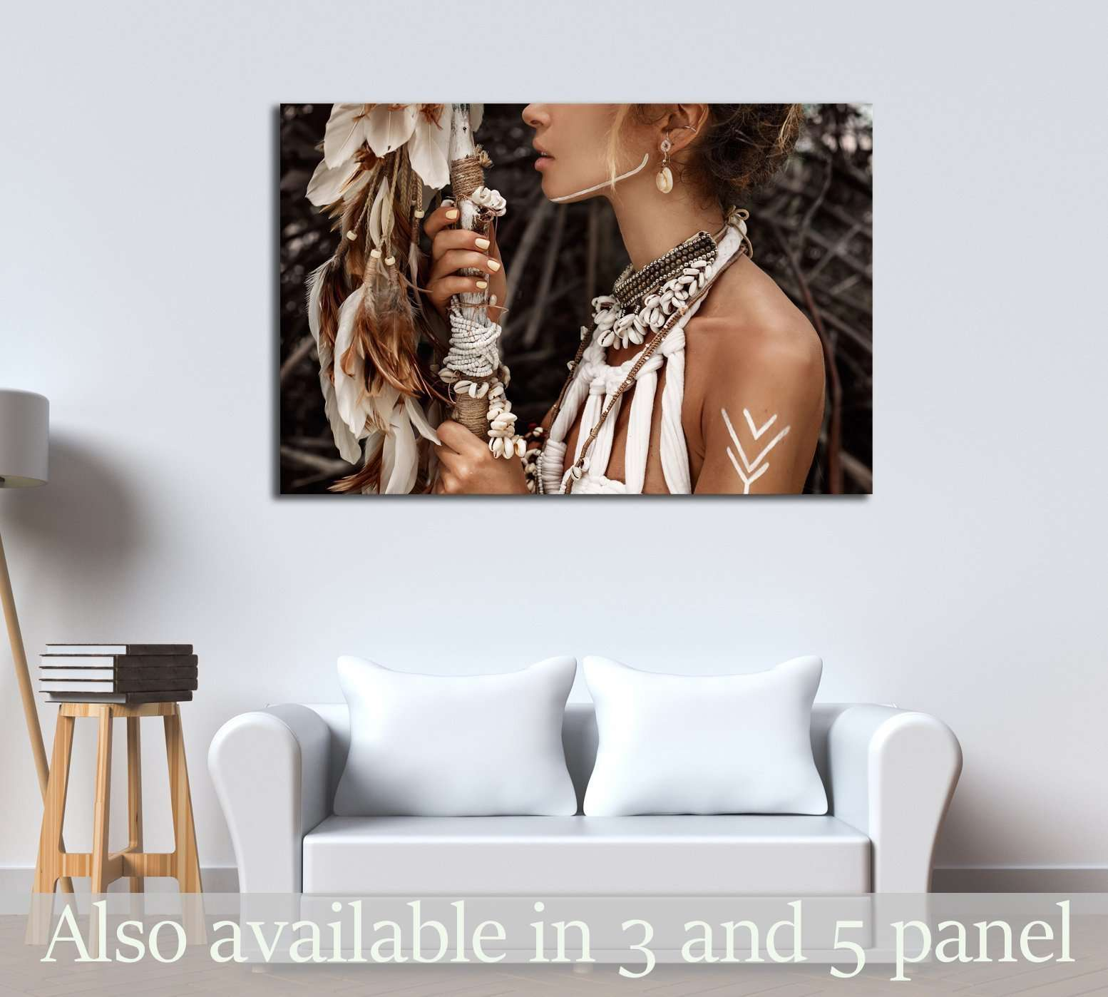 Attractive wild boho woman close up portrait №2767 Ready to Hang Canvas Print