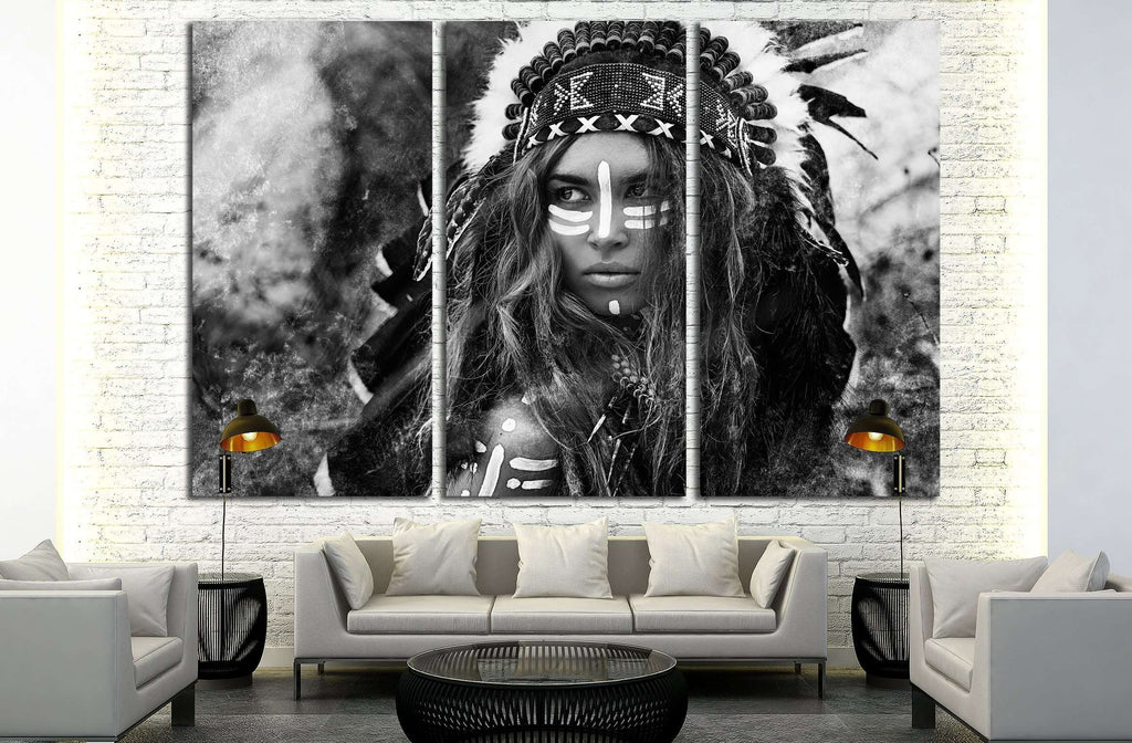 Attractive young woman in chieftain. Black and white portrait. Indian style №2769 Ready to Hang Canvas Print
