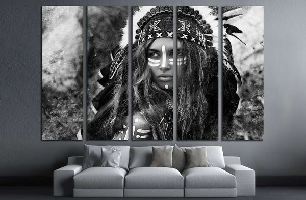 Attractive young woman in chieftain black and white portrait indian zellart