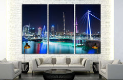 Auckland City and Sky Tower at Night, Auckland, New Zealand №1639 Ready to Hang Canvas Print