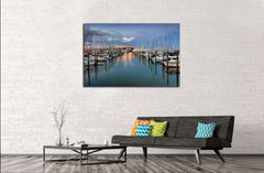 Auckland harbor Bridge from Westhaven Marina. Auckland, New Zealand №2514 Ready to Hang Canvas Print