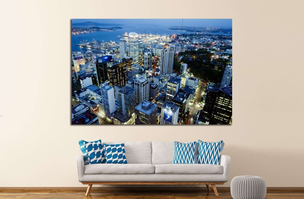 AUCKLAND, NZ, Auckland CBD at night from the Sky Tower №1678 Ready to Hang Canvas Print