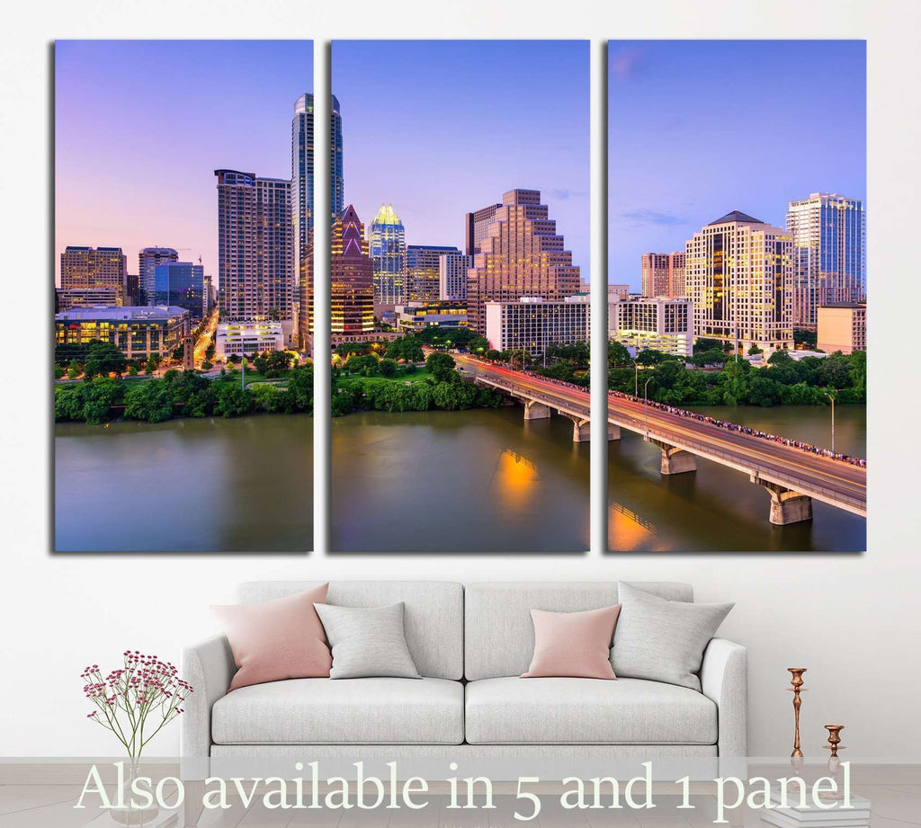 Austin, Texas, USA downtown skyline on the Colorado River №1650 Ready to Hang Canvas Print