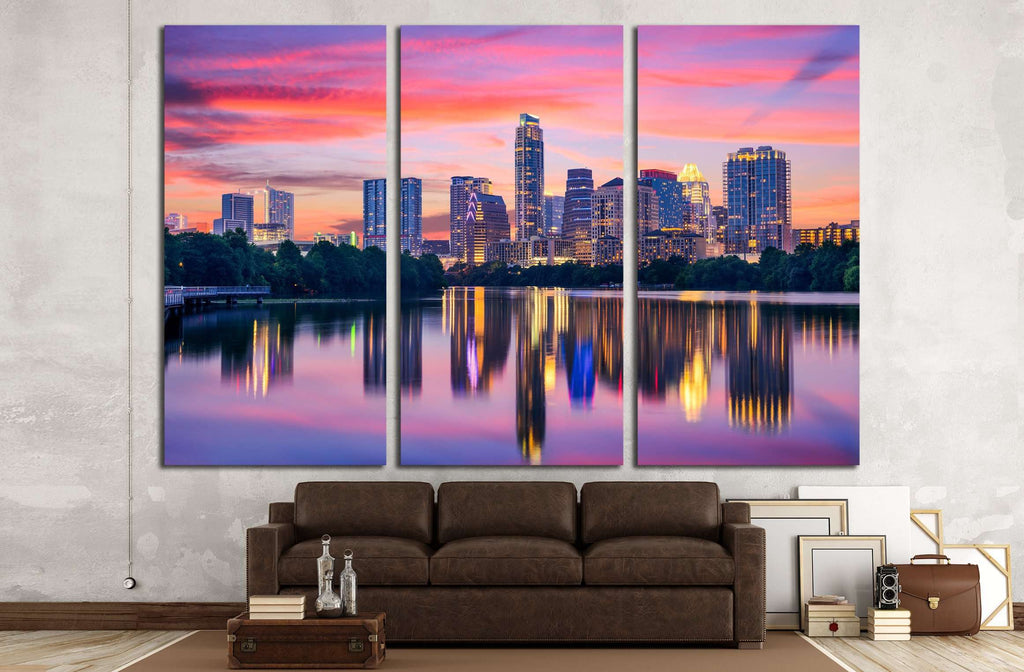 Austin, Texas, USA skyline on the Colorado River №2983 Ready to Hang Canvas Print