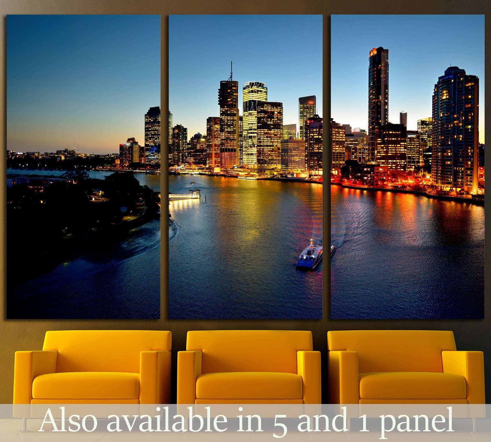 Australian Landscape Brisbane Riverside viewed from Story Bridge №1724 Ready to Hang Canvas Print
