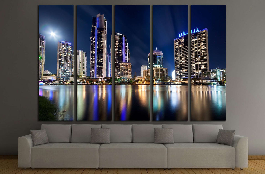 australian modern city at night (gold coast) queensland №2235 Ready to Hang Canvas Print