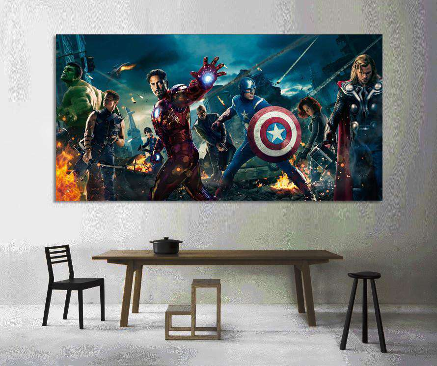 Avengers-Hulk, Iron Man, Captain America №2017 Ready to Hang Canvas Print