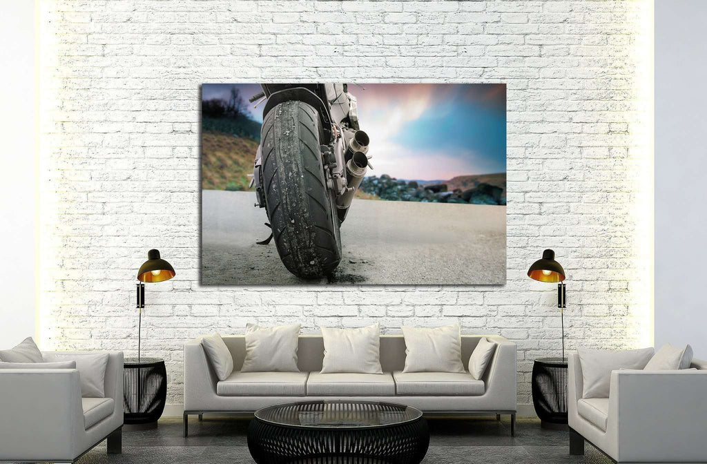 Back view of a motorbike with scenic landscape №1877 Ready to Hang Canvas Print