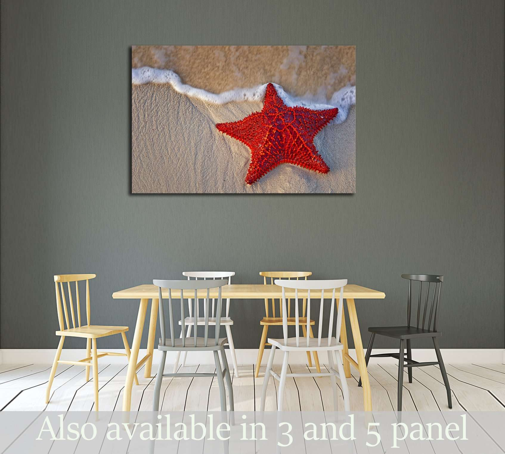 Bahama Starfish on the beach with incoming waves from the ocean №3027 Ready to Hang Canvas Print