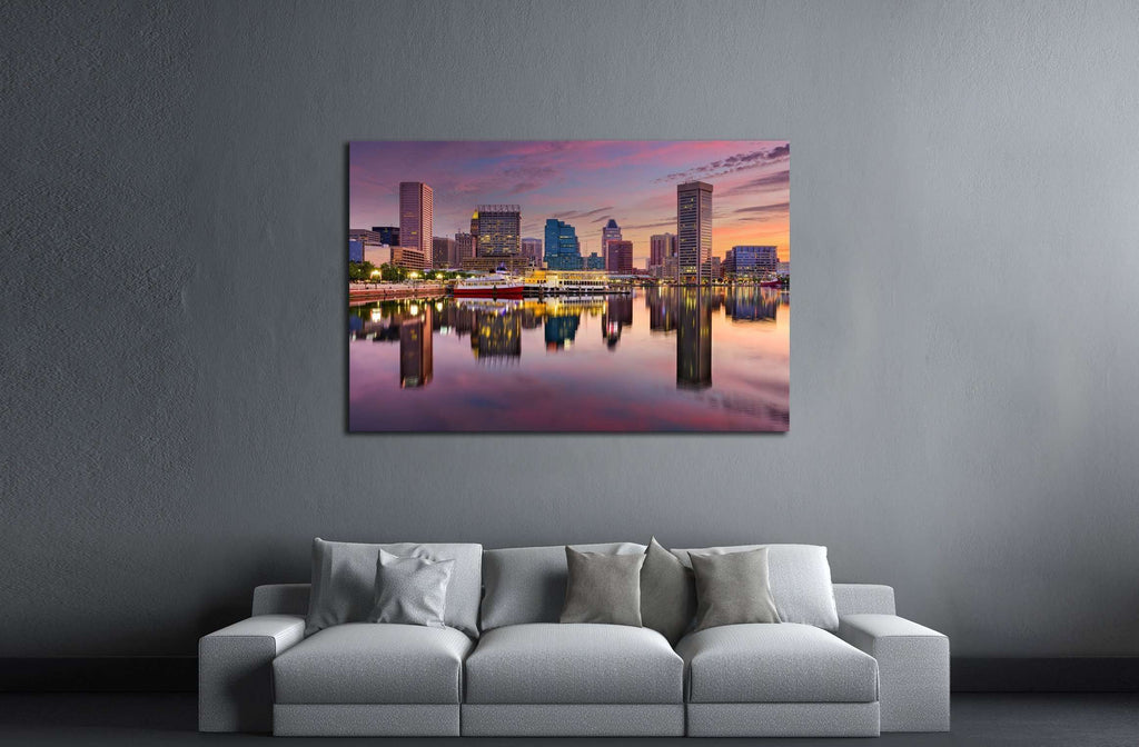 Baltimore, Maryland, USA skyline at the Inner Harbor №2410 Ready to Hang Canvas Print