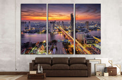 Bangkok city at sunset (Taksin Bridge) №2284 Ready to Hang Canvas Print