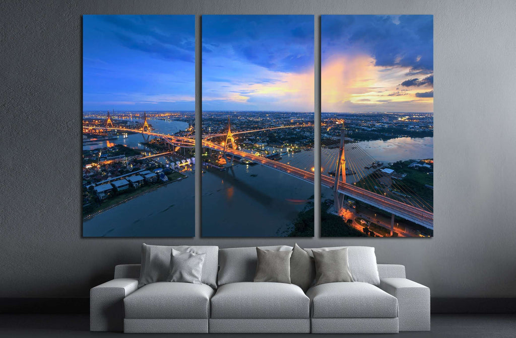 Bangkok City - Beautiful sunset view of Bhumibol Bridge in Bangkok №2963 Ready to Hang Canvas Print