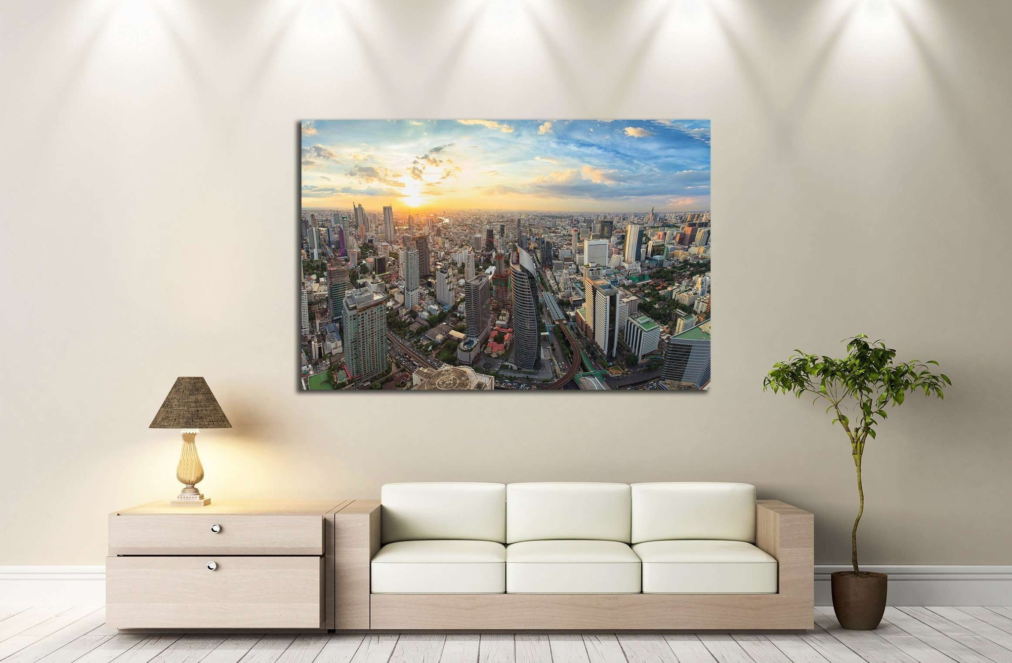 Bangkok panorama, cityscape sunset view №2292 Ready to Hang Canvas Print
