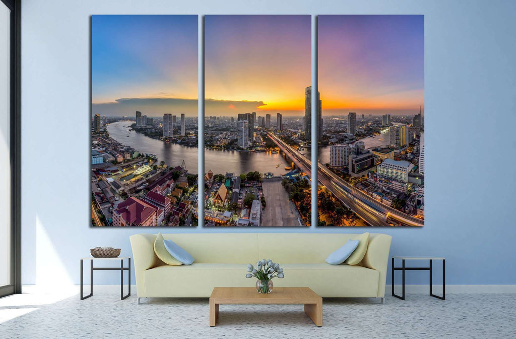 Bangkok Transportation at Dusk, Modern Business Building, Thailand №1701 Ready to Hang Canvas Print