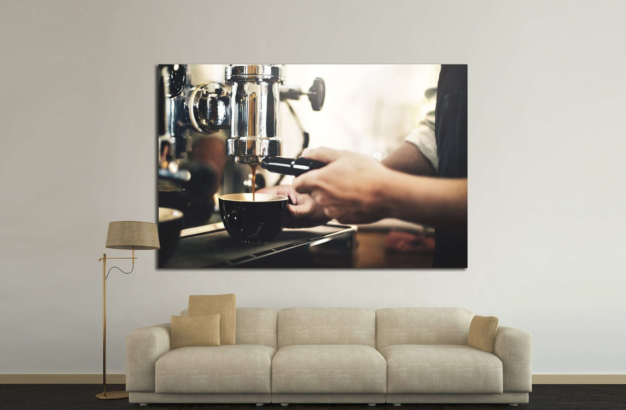 Barista Cafe Making Coffee №1448 Ready to Hang Canvas Print