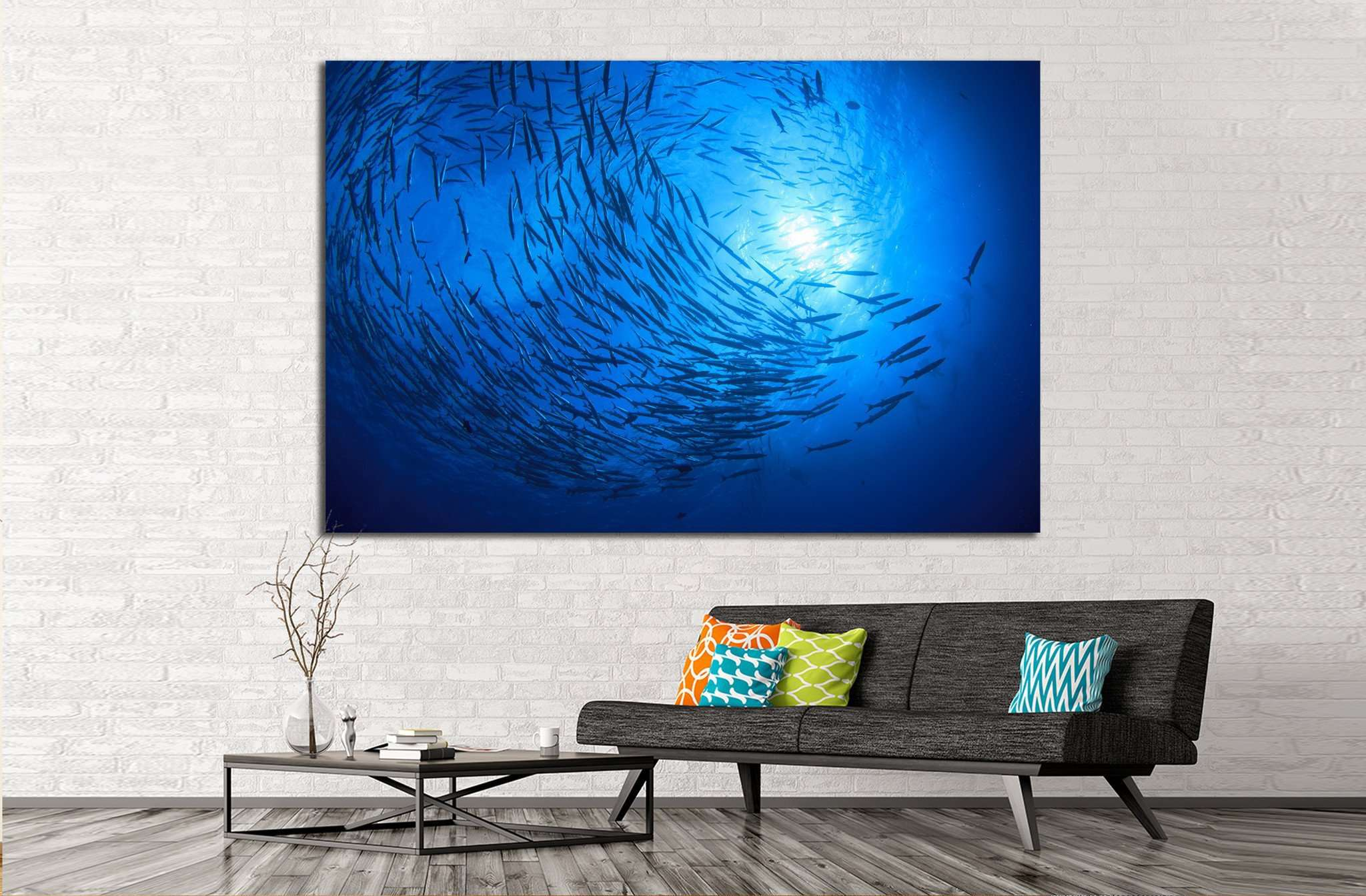 barracuda fish and scuba divers №842 Ready to Hang Canvas Print