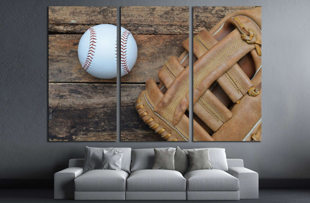 Baseball ball on wooden background №2131 Ready to Hang Canvas Print